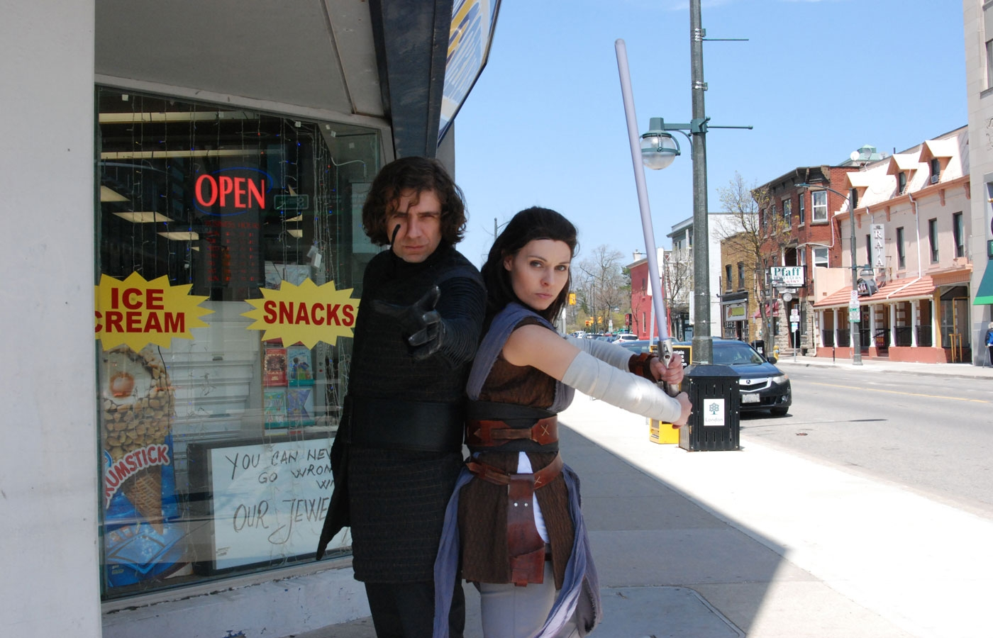 Henry Bartch as Kylo Ren and Amber Stallard (Ammie Cosplay) as Kylo Ren and Rey from Star Wars in London, ON