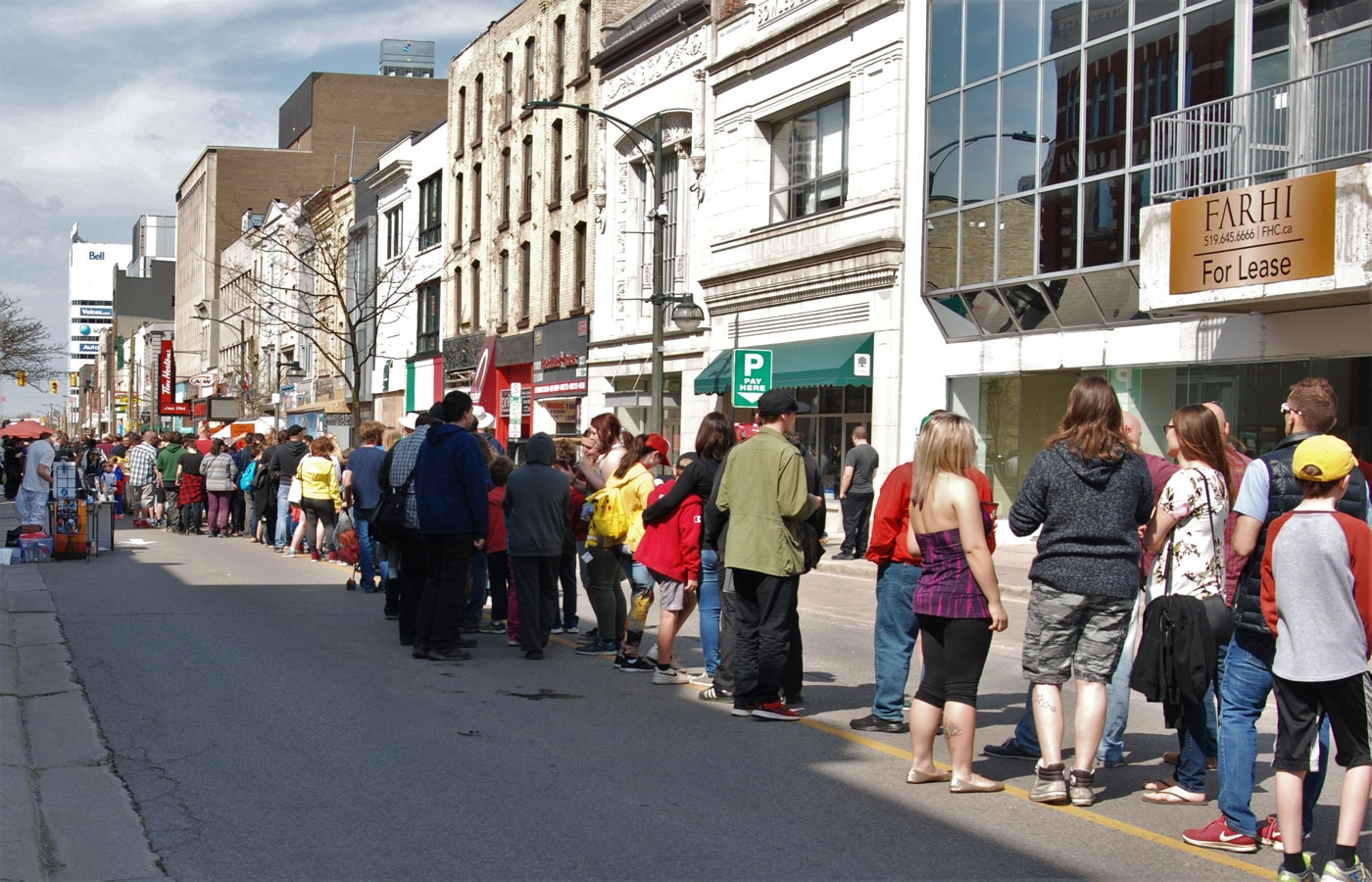 The lineup for Heroes Comics during Free Comic Book Day in London, ON.
