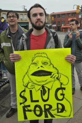 Luke Harris channeled some Jabba for his protest placard.