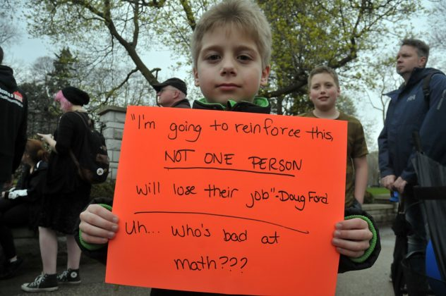 Eight-and-a-half-year old Martyn Squires-Williams was one of the youngest protesters in the crowd.