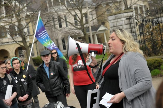 qMelissa Parker was among the first to speak at the rally.