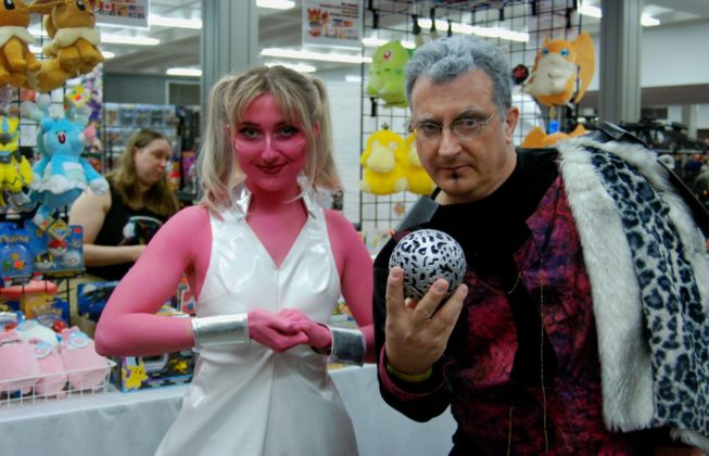Greg Davies and Sydney Davies as the Collector and Karina from Guardians of the Galaxy at Forest City ComiCon at Centennial Hall in London, Ontario