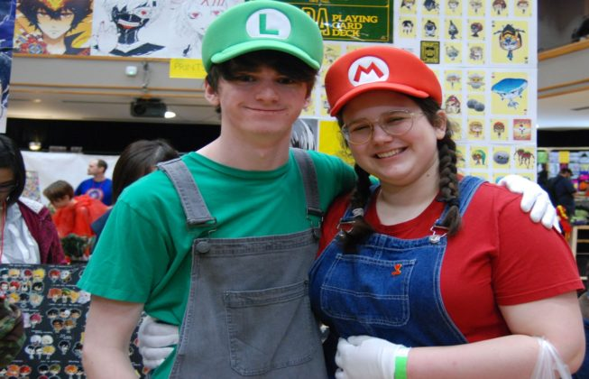 Ben Langstaff and Ben Langstaff as Mario and Luigi at Forest City ComiCon at Centennial Hall at Forest CIty ComiCon in London, Ontario