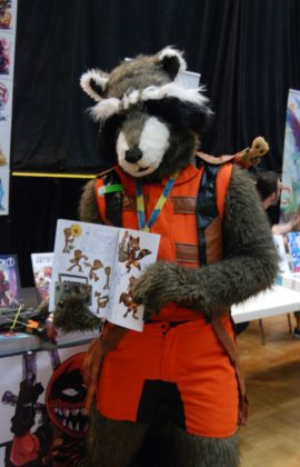James Martin as Rocket the Raccoon from Guardians of the Galaxy at Forest City ComiCon at Centennial Hall in London, Ontario