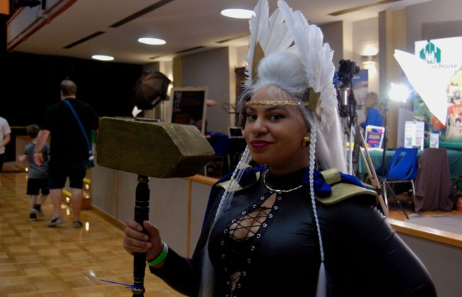 Felicia from McQueen Family Cosplay as Asgardian Storm of the Marvel universe at Forest City ComiCon at Centennial Hall in London, Ontario