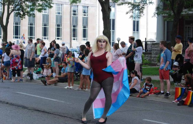 A parade goer holding the trans pride flag