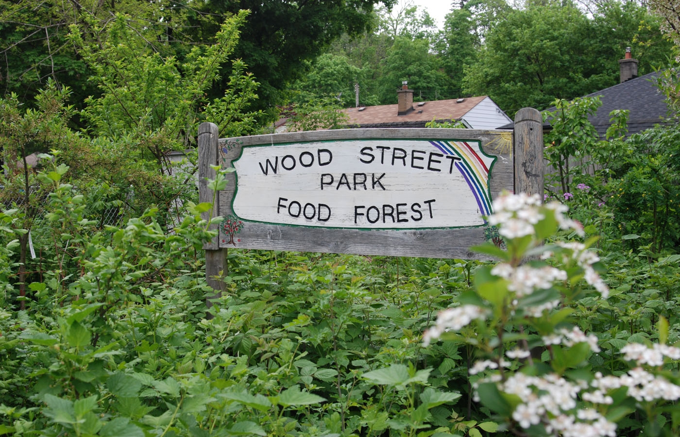 A sign for the Wood Street Park Food Forest Sign in London, Ontario