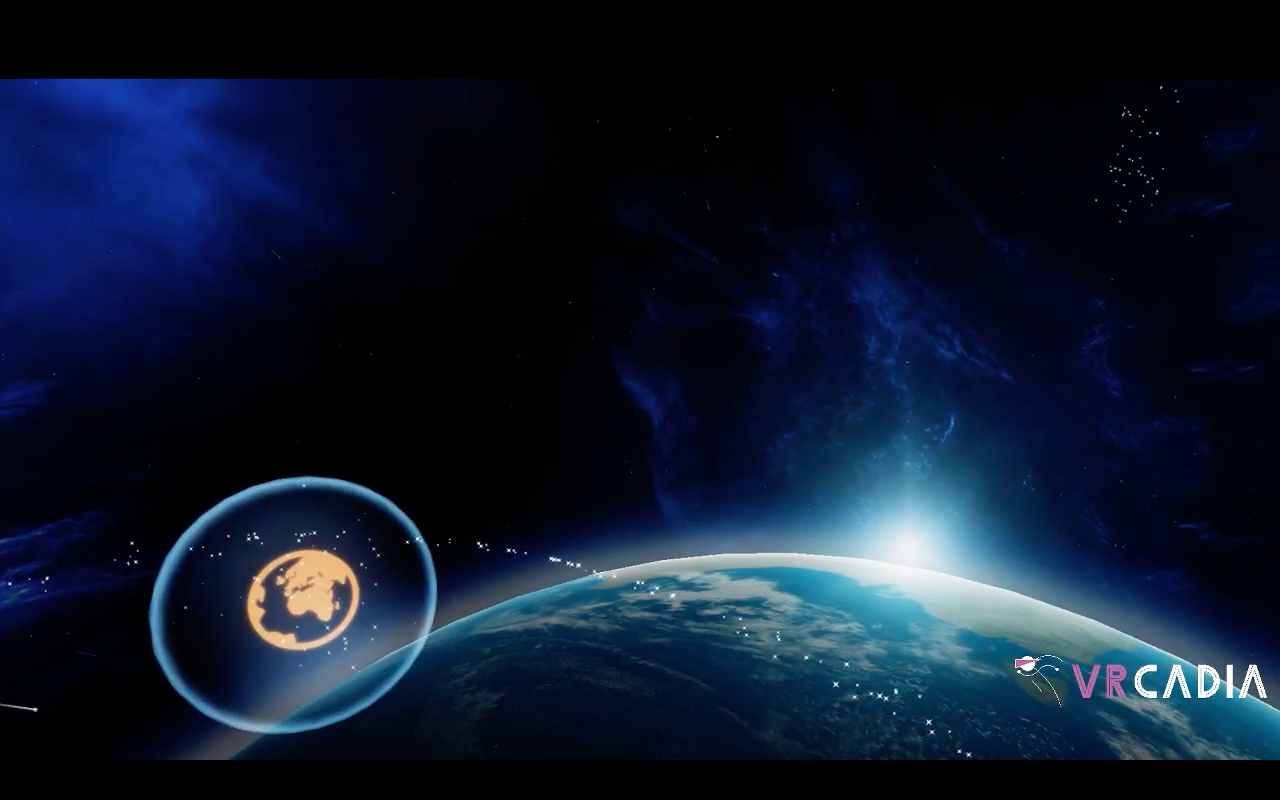 """A VR image of Earth in space and an orb of earth. The VRcadia logo, a running stick figure with a VR helmet and the words """"VRcadia"""" in purple and white text are in the bottom left corner."""