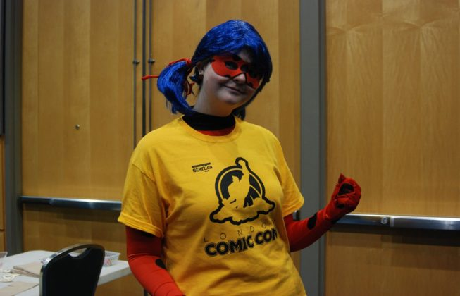 "Amber Doswell as Ladybug from ""Miraculous: Tales of Ladybug and Cat Noir"" at London Comic Con in London, Ontario"