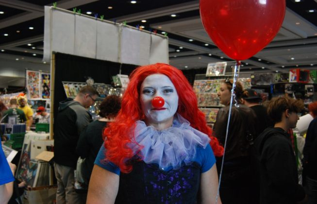 "Judi Gasparik as Pennywise from ""IT"" at London Comic Con in London, Ontario"