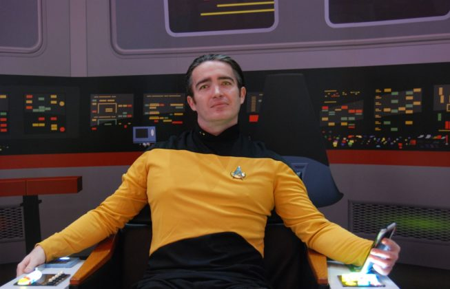 "Sky Westman, best known as London Batman, as Data from ""Star Trek"" at London Comic Con in London, Ontario"