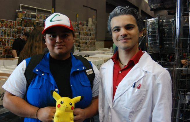 "Deborah Carpio (left) and George Nikides (right) as Ash Ketchum and Professor Oak from ""Pokemon"" at London Comic Con in London, Ontario ."