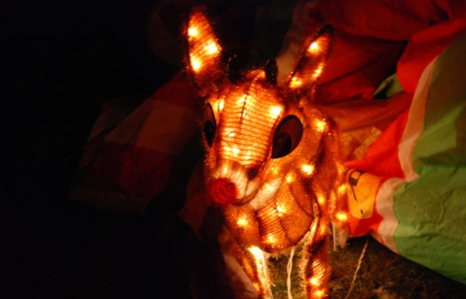 A lit-up Rudolph the Red Nosed Reindeer Christmas display on Jenna Crescent in London, Ontario
