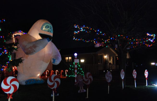 An inflatable of Bumble the abominable snow monster as part of one of the light displays on Jena Crescent in London, Ontario