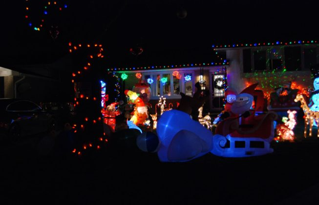 A light display on Jena Crescent with Santa and a tree with orange lights