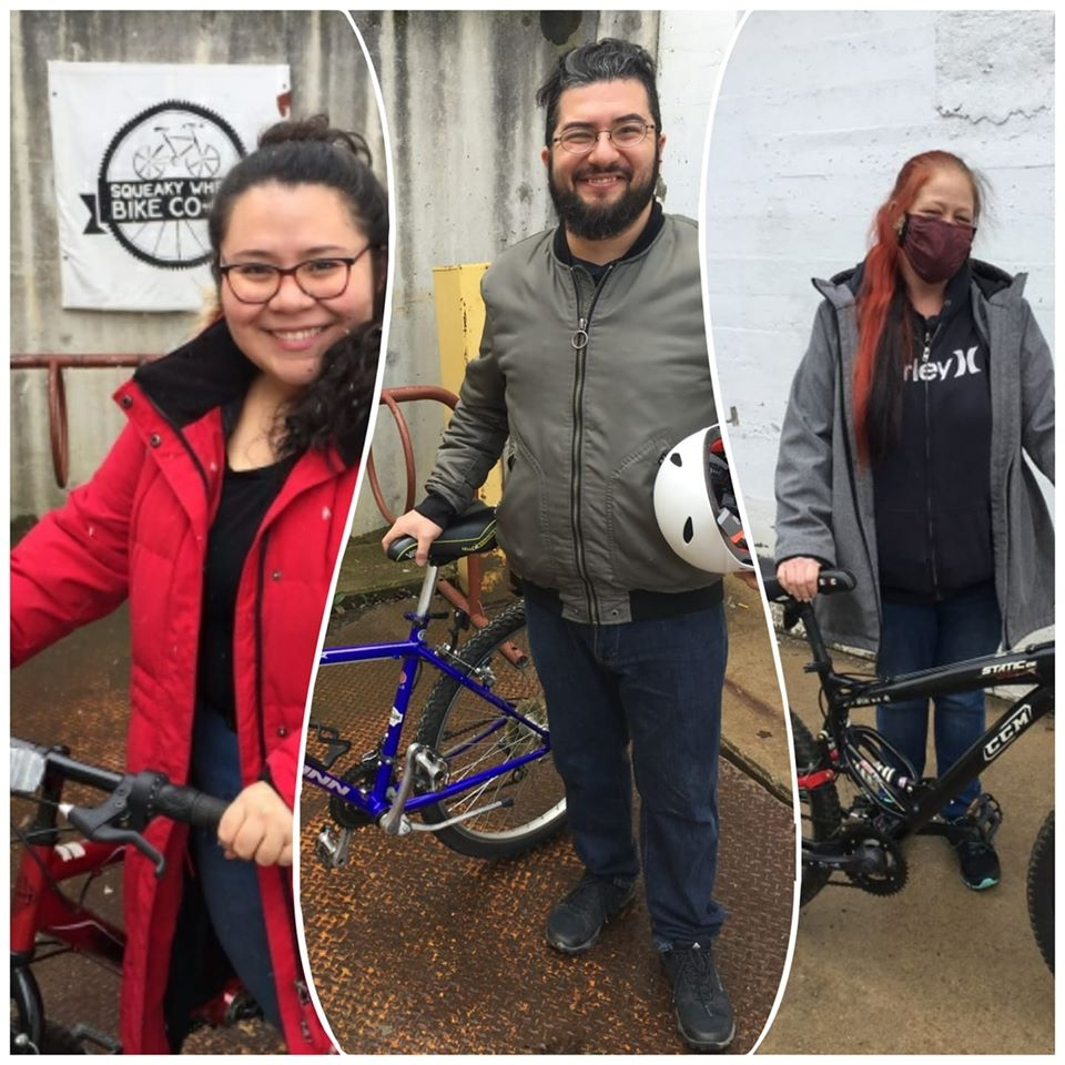 Divded into three parts, the image contains three individuals standing next to bikes.
