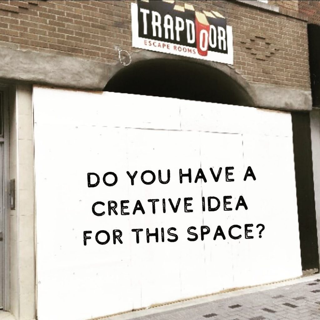 "a blank canvas that says ""Do you have a creative idea for this space?"""