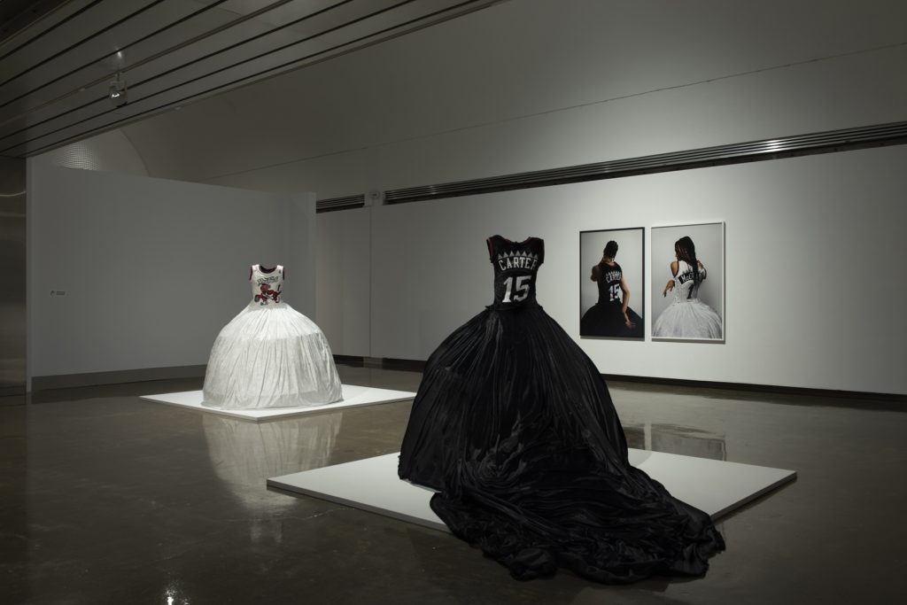 One of the Boys (Black) and (White), 2019, colour photographs on paper, satin gowns, Courtesy of Georgia Scherman Projects, Photo: Lucas Link Stenning.