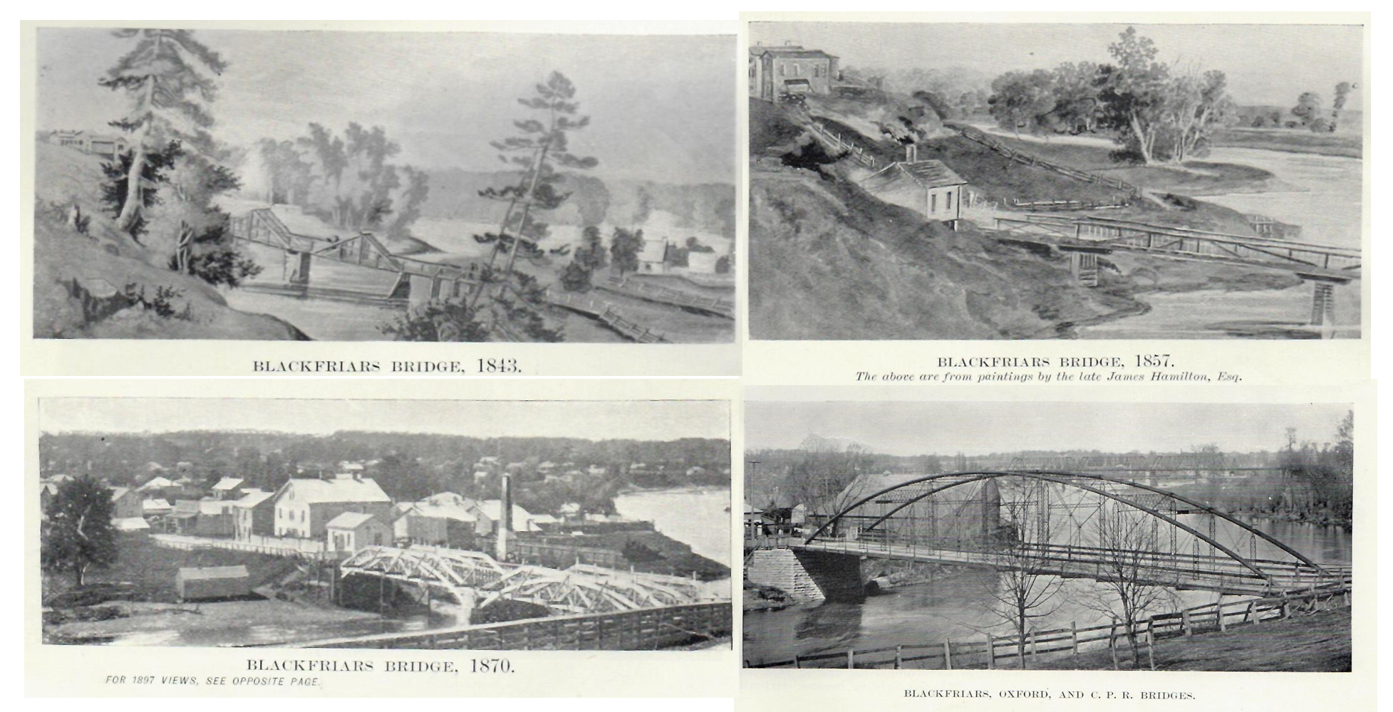 A series of images showing the progression of bridges at Blackfriars.