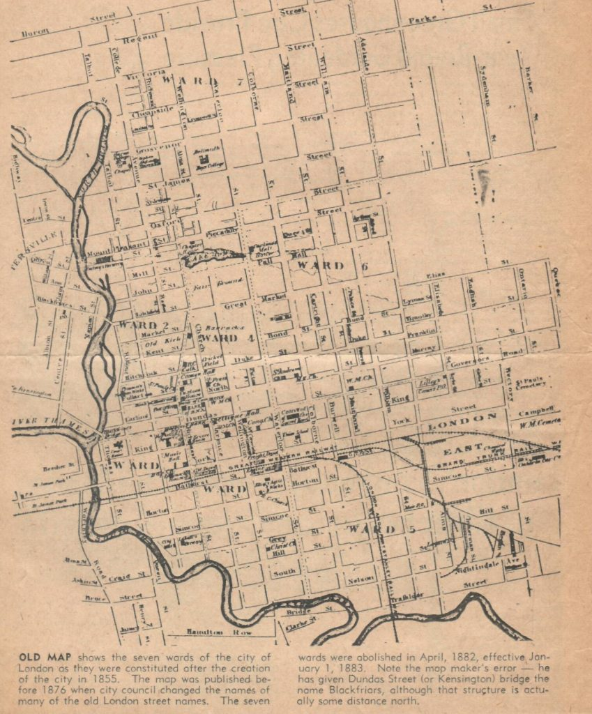 A rough map of the City of London, Ontario in 1955