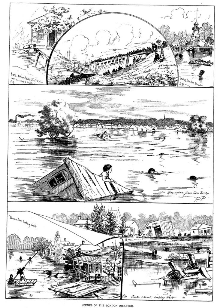 A series of four black and white drawings showing the extent of the flooding in 1883.
