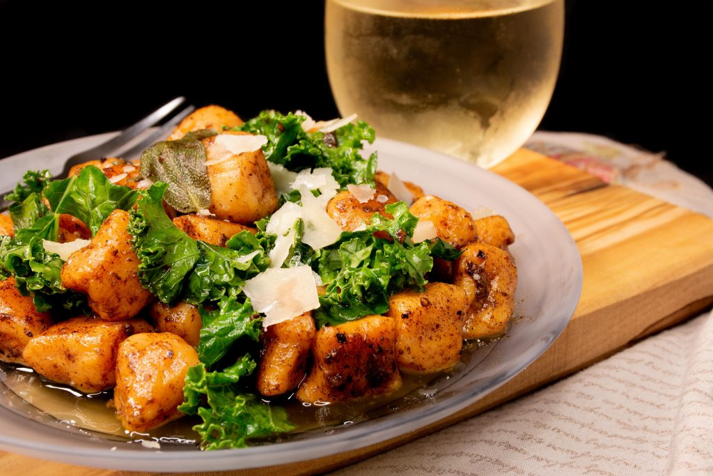 Sweet Potato Gnocchi with Brown Butter White Wine Sage Sauce by Carrie Freele