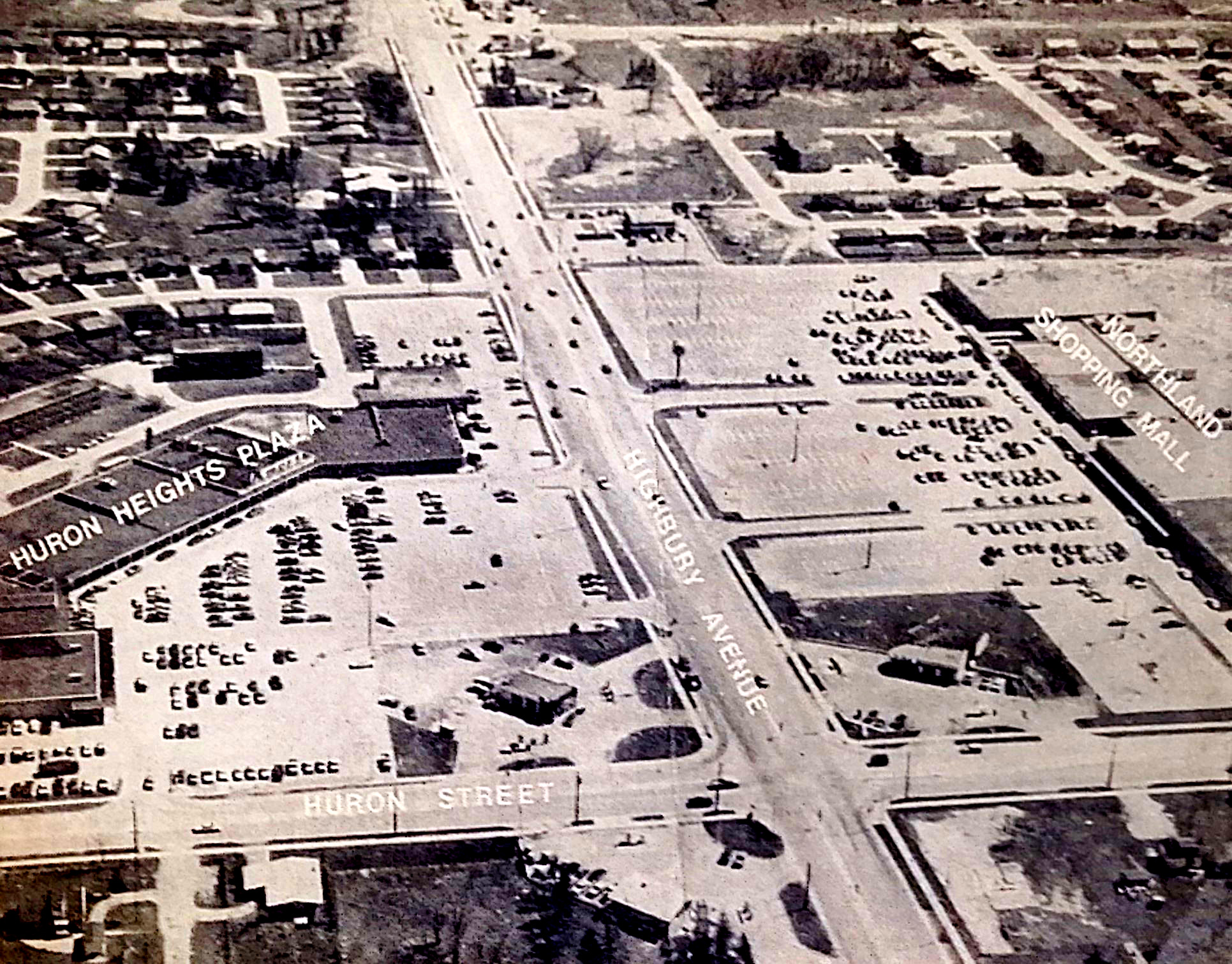 black and white aerial photo of Huron Heights, London, ON