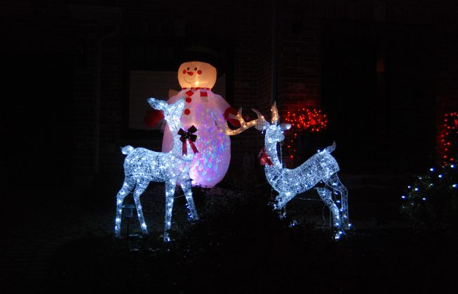 Two deer light displays and an inflatable snowman in Masonville in London, ON