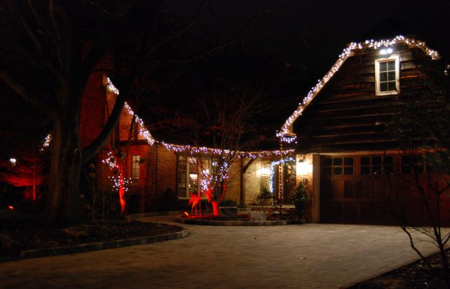 A large house in Masonville in London, ON with Christmas lights.
