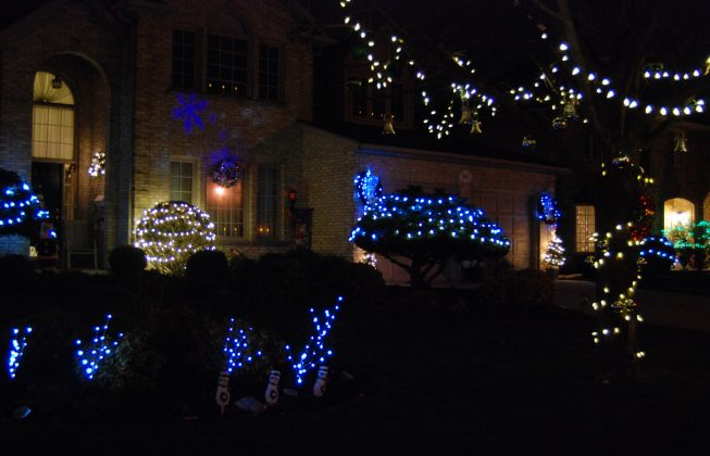 A holiday house with lots of blue lighting in Masonville in London, ON