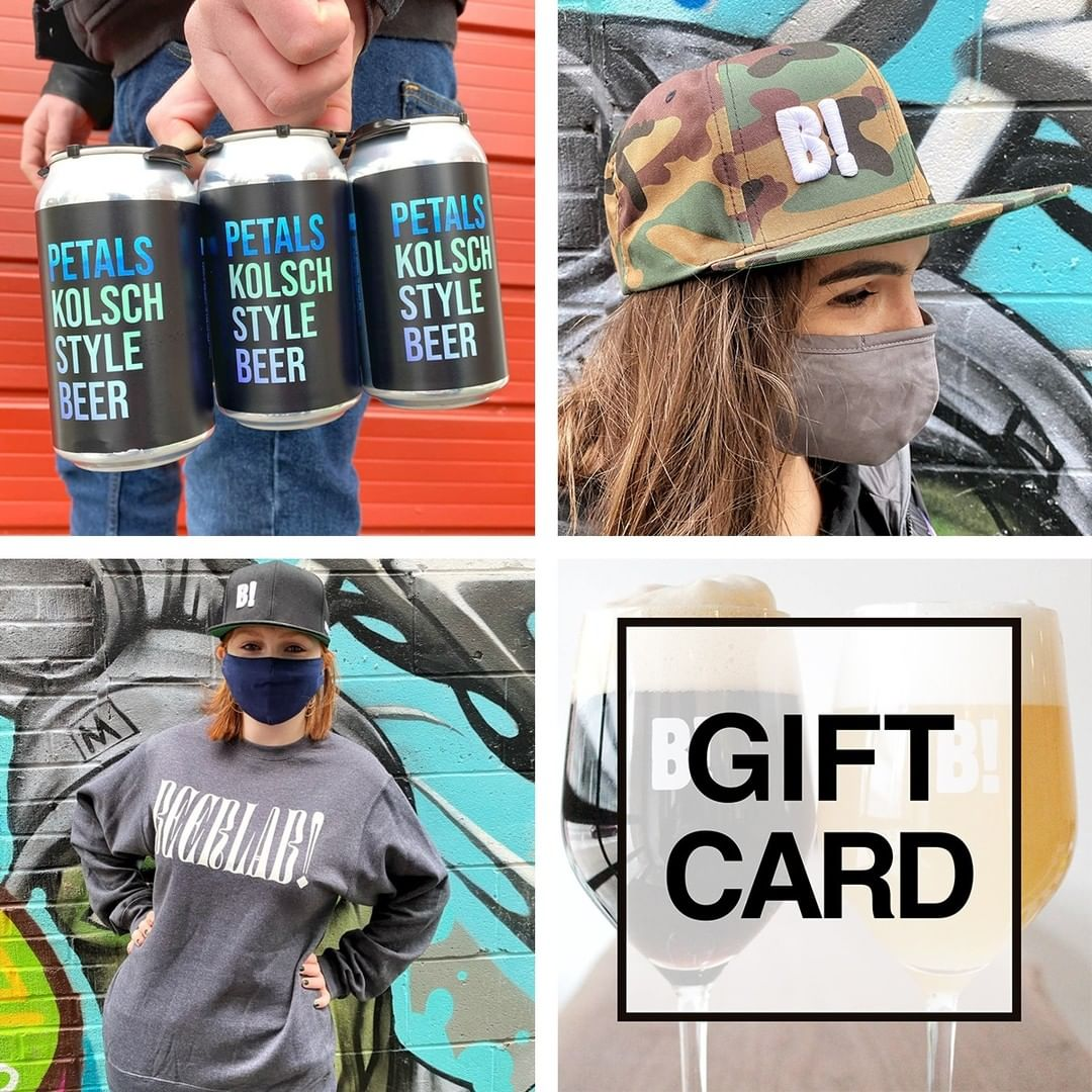 "Four spaces with a six-pack of beer, a hat, a sweat, and the words ""gift card."""