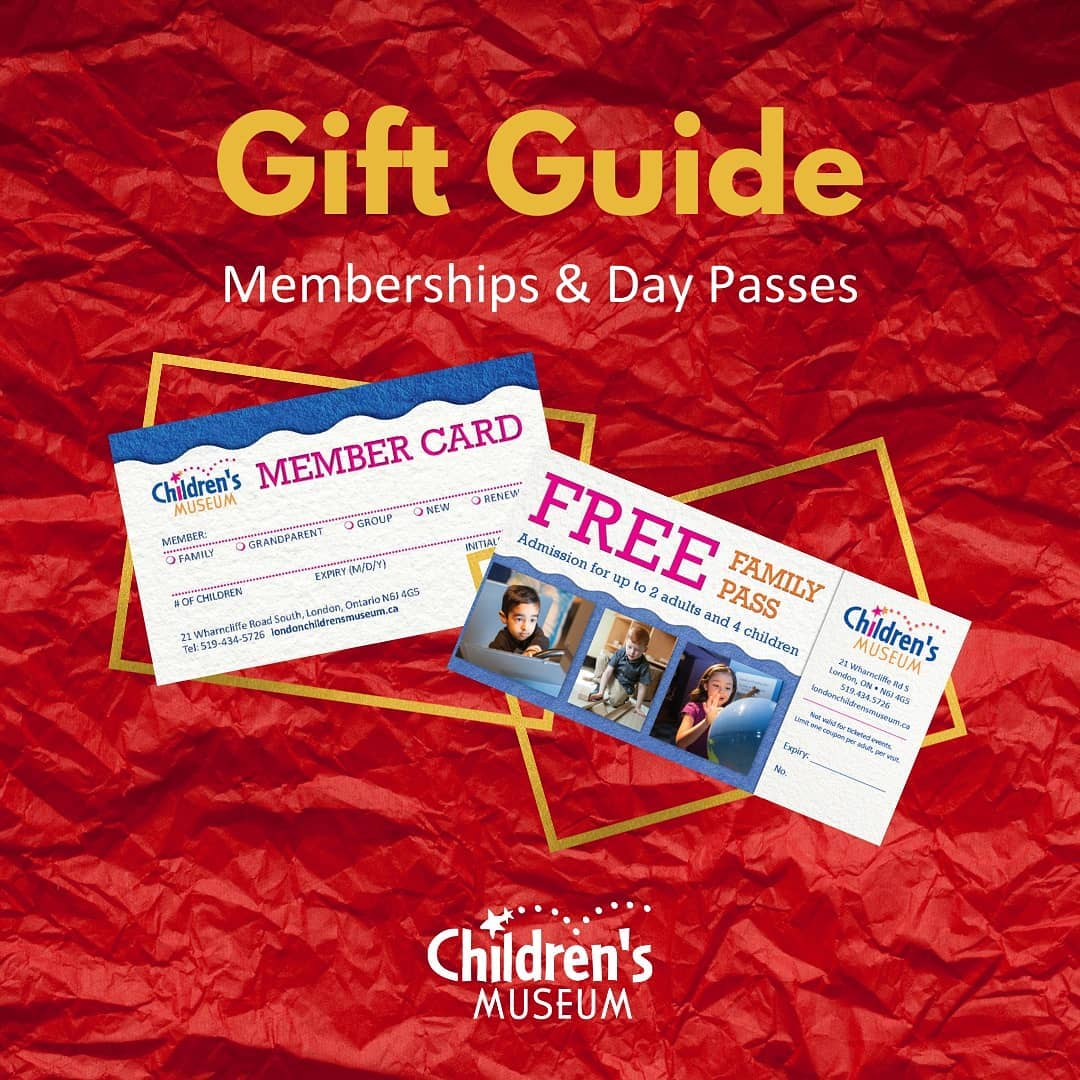 Image with a red background says Gift Guide and shows member card and gift certificates.