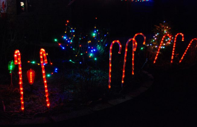 Candy cane light displays in Masonville in London, ON
