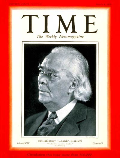 A magazine cover with the title TIME at the top with a black and white image of Richard Harrison in the centre.