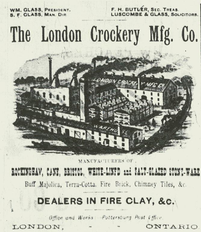 A black and white ad advertising The London Crockery Mfg. Co. in Argyle