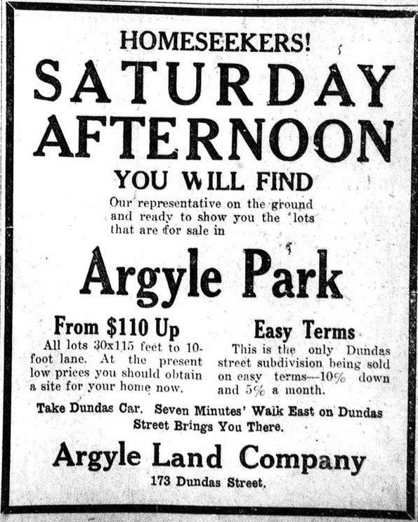 "An ad for homes being sold in ""Argyle Park"""