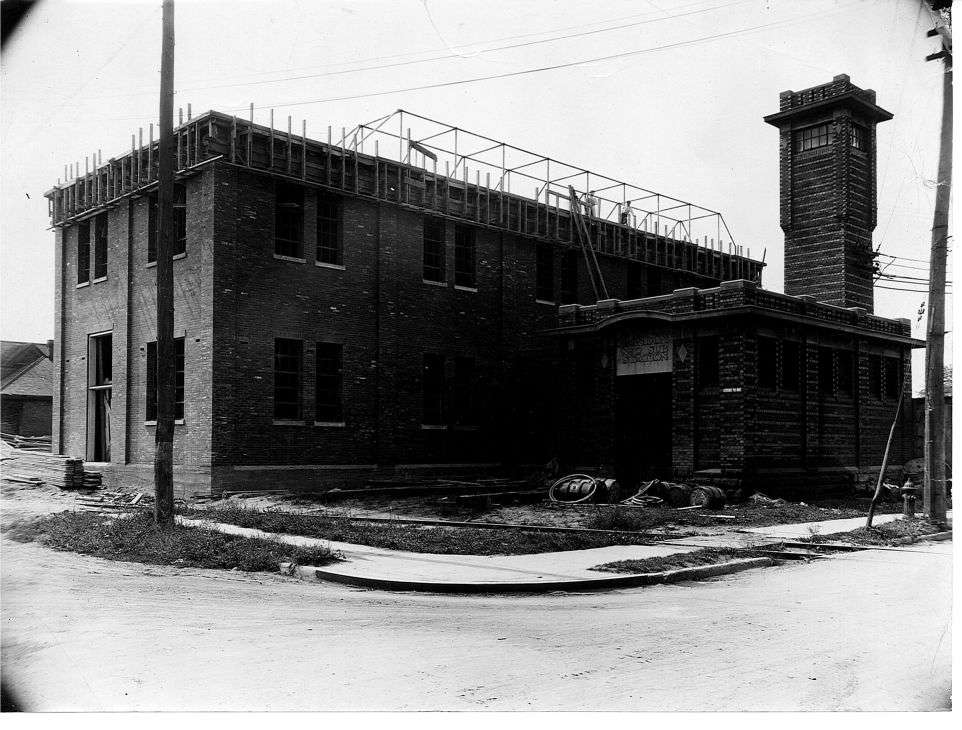 A black and white photo of a building under construction. The building was a hydro substation that powered the Hamilton Road area.