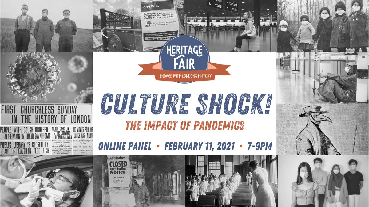 "Poster for Heritage Fair. Collage of images of doctors, past pandemics, and people in masks with the words ""Culture Shock! The Impact of Pandemics"""