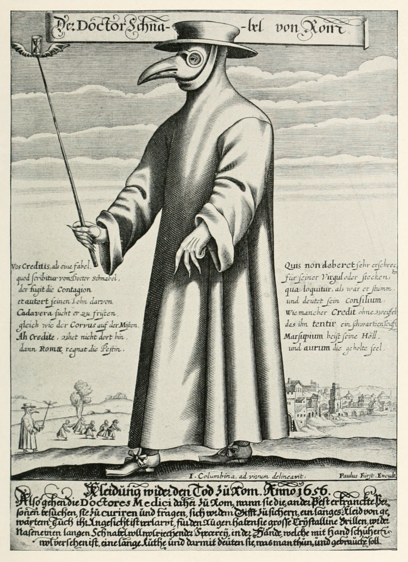 A black and white image of a plague doctor from 17th century.