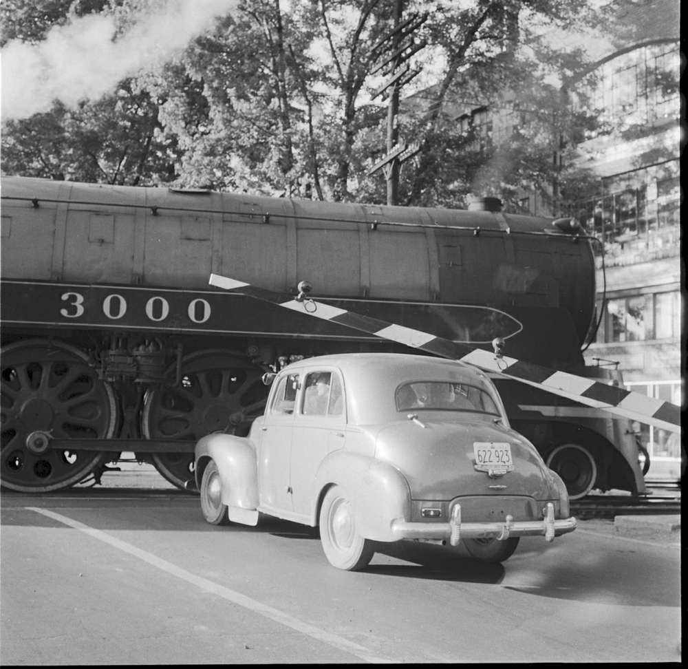 A car waits for a train to pass in Woodfield