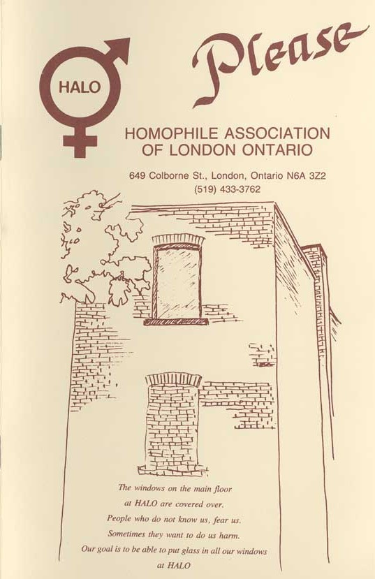 The cover of a pamphlet for the Homophile Association of London Ontario.