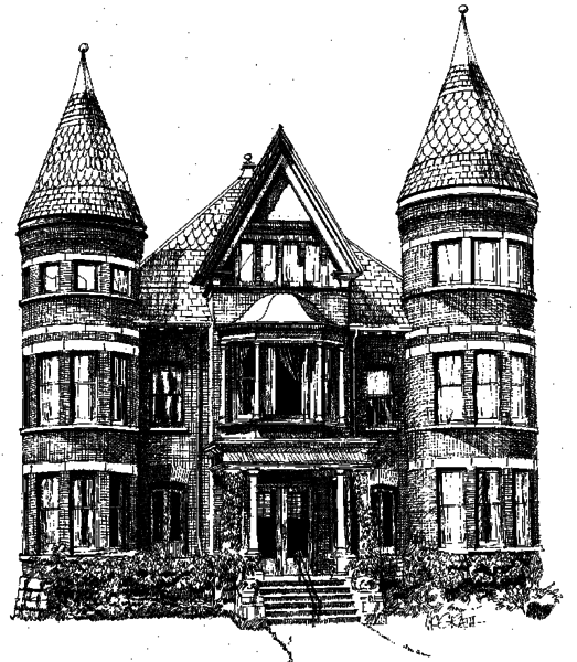 A black and white sketch of a Victorian-era mansion in Midtown.