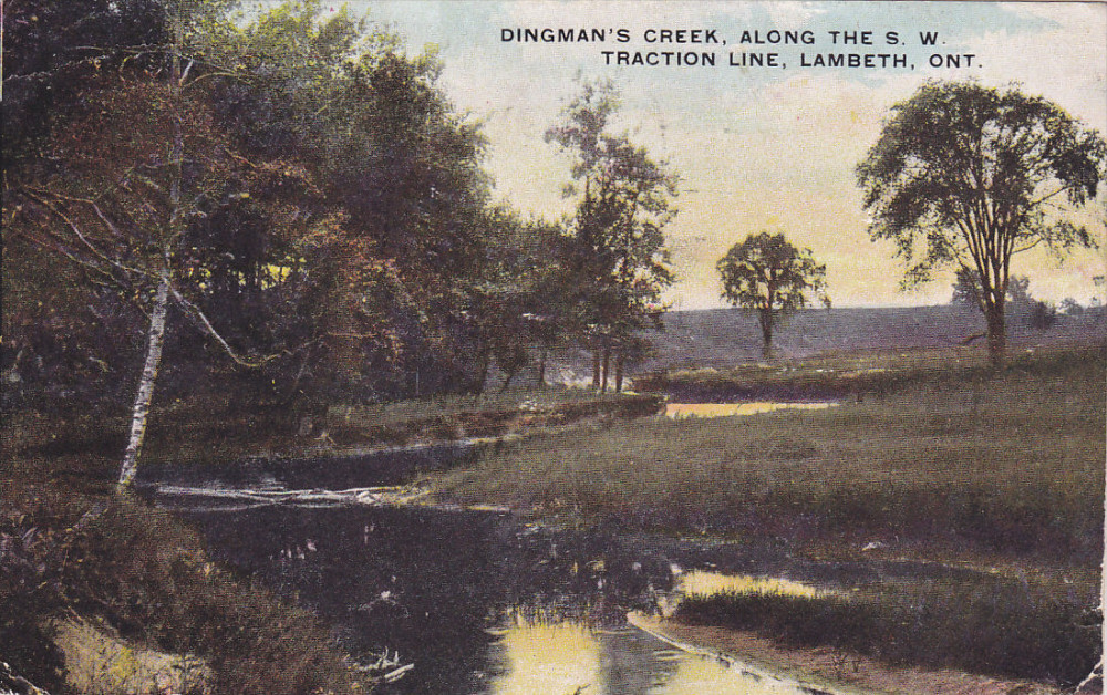 A postcard of Dingman's Creek along the S.W. Traction Line in Lambeth, Ontario.