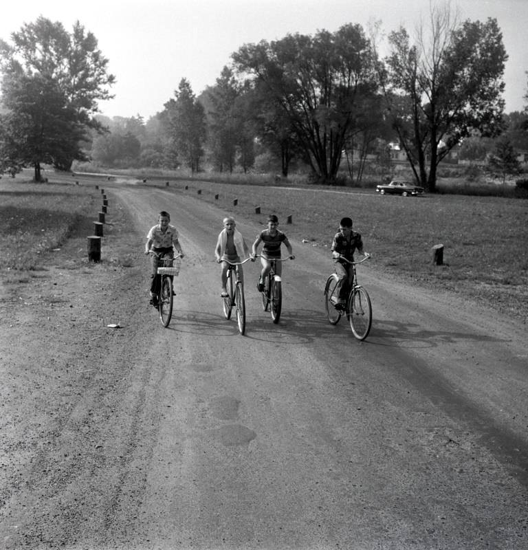 four kids on bikes facing the camera ride on a road lined with trees in Gibbons Park in Old North.