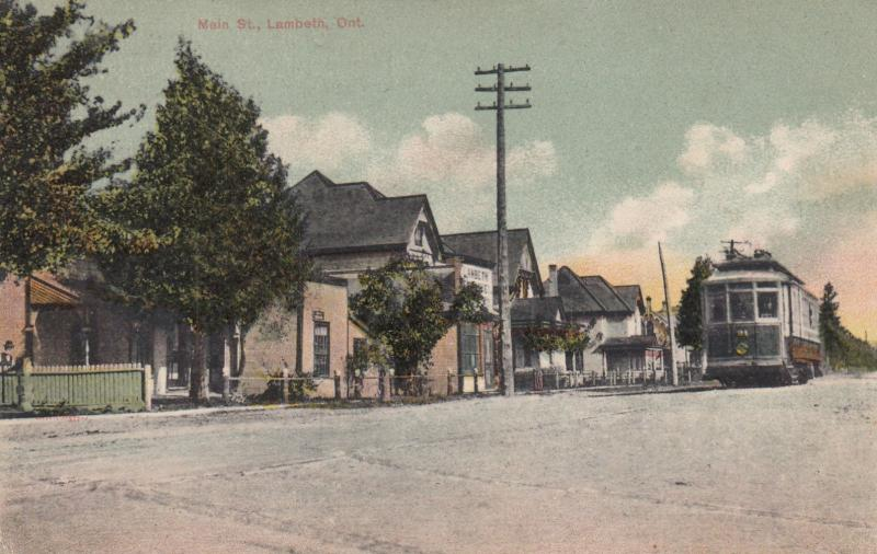 A postcard of Main Street, Lambeth, Ontario, featuring South Western Traction Company rail car, c. 1907.