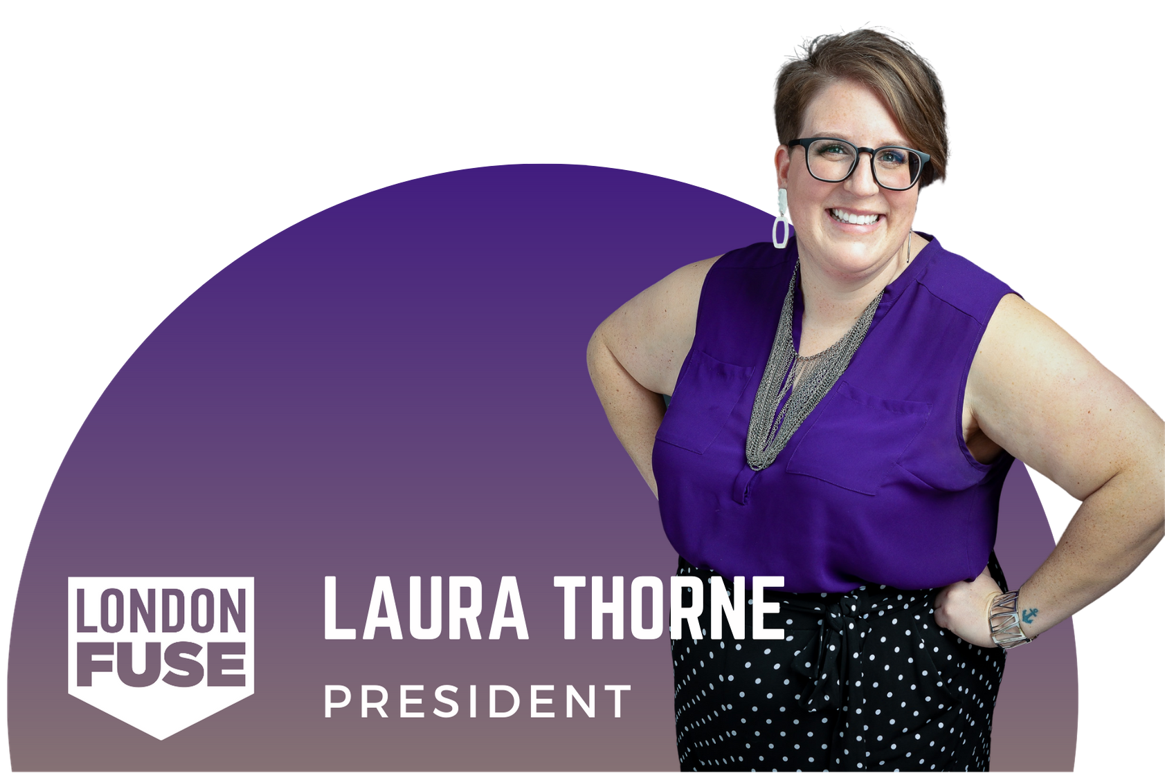 "Laura Thorne poses with her hands on her hips wearing polka dot pants and purple shirt. The text says ""Laura Thorne President"""