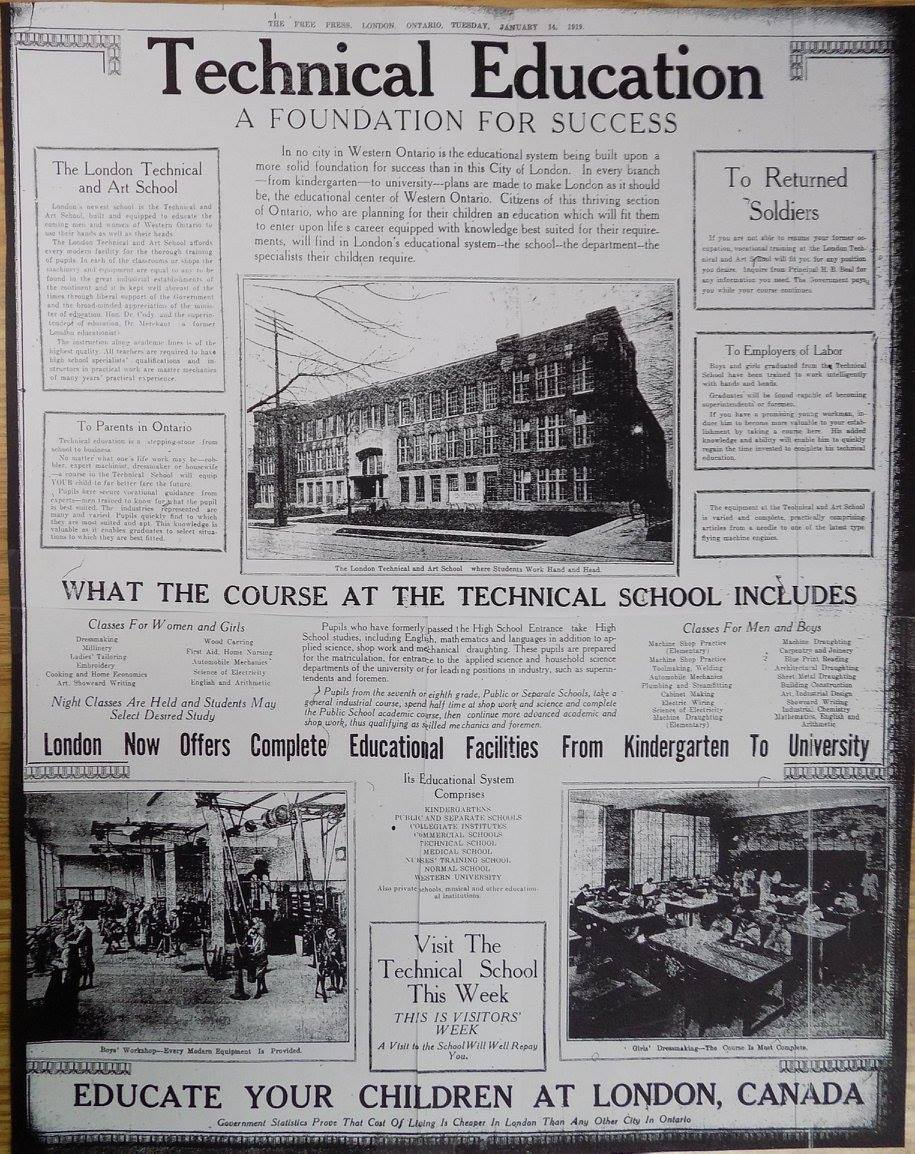 """A full page ad in the London Free Press. The headline says """"Technical Education A Foundation for Success"""""""