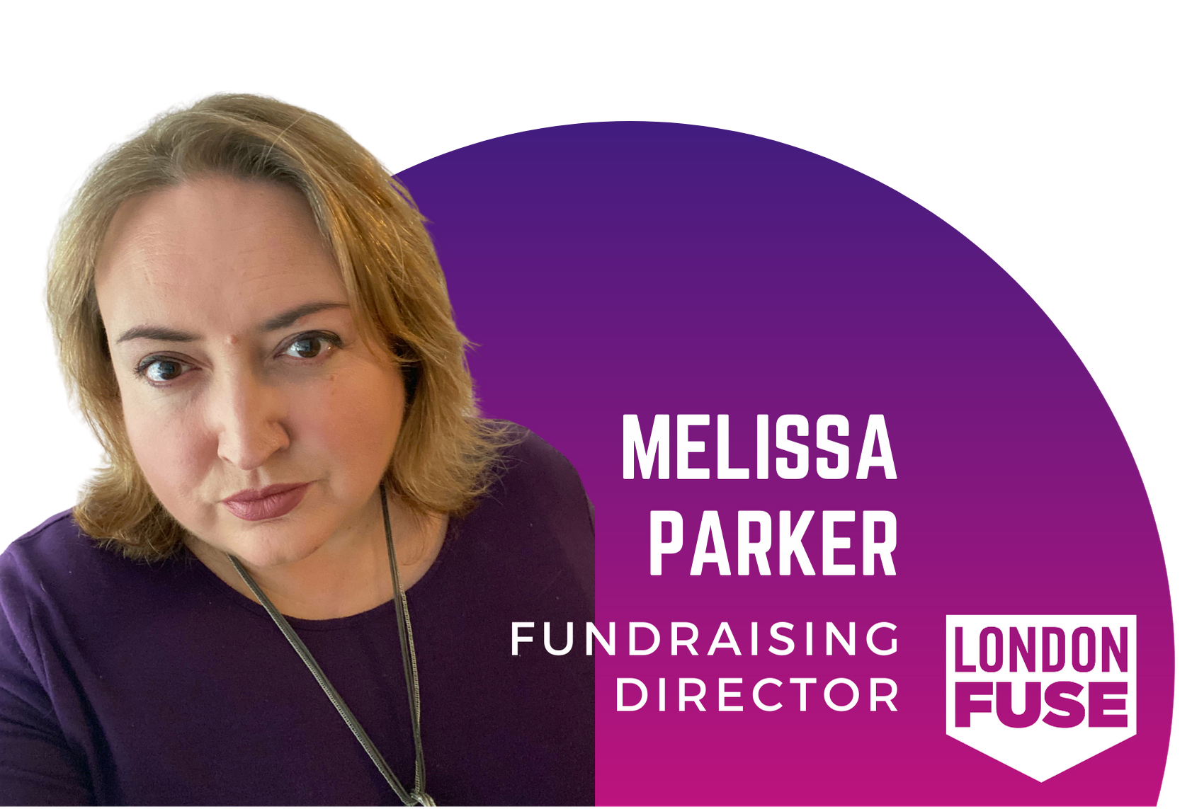 """A blonde woman looks directly at the camera. She is wearing purple. The text beside her says """"Melissa Parker Fundraising Director"""""""