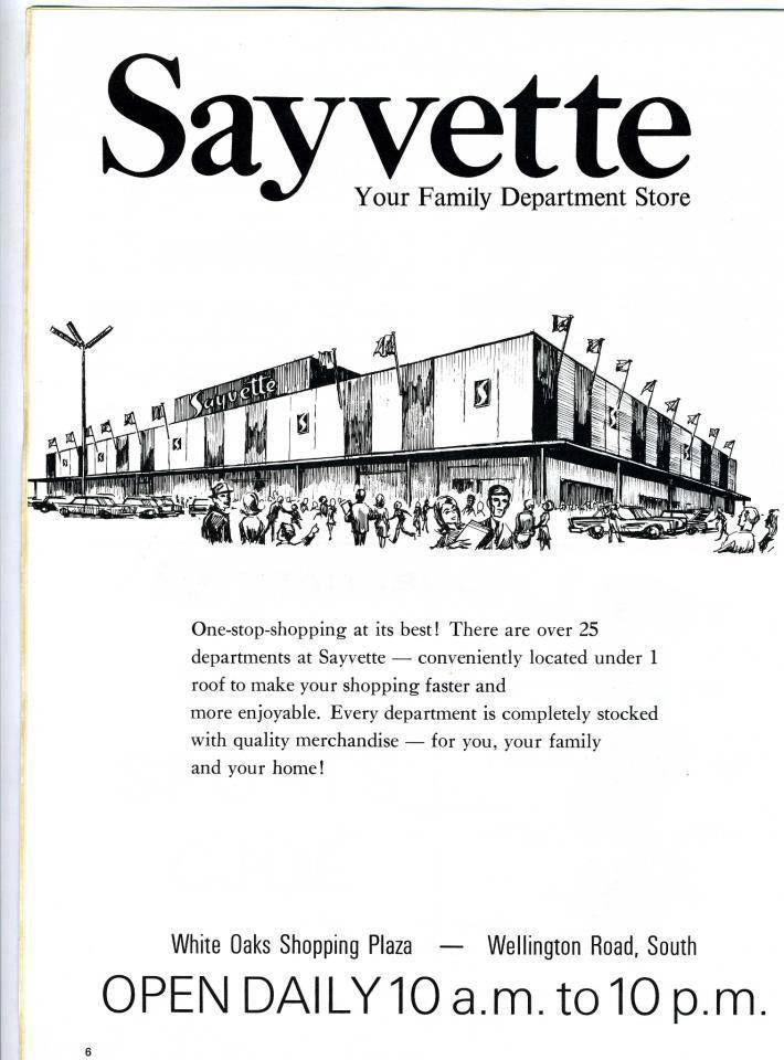 "A black and white print add that says ""Sayvette Your Family Department Store"""