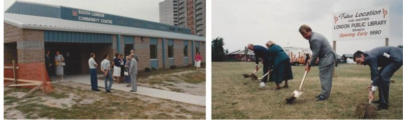 "LEft photo: a group of people stand outside a newly constructed building with ""South London Community Centre"" on it. Right photo: Four people, three men and one woman, use shovels to dig for a ceremonially ""breaking ground"" photo op."